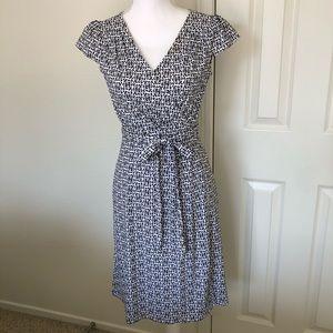 Loft Petites mock wrap dress, cap sleeve, size 2P